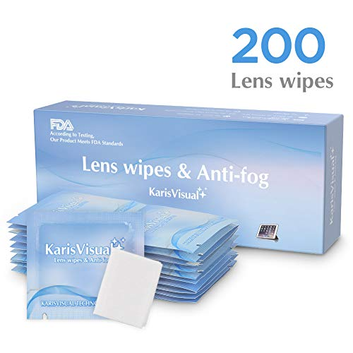 Lens Wipes Feat.Antifog - Suitable for Eyeglasses, Cellphones, Tablets, Camera Lenses, Swim Goggles, and Other Delicate Surfaces Pre-Moistened,KarisVisual 200 Individually Wrapped