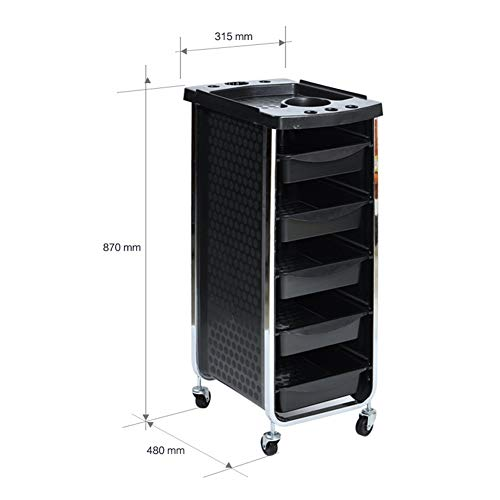 Beauty Storage Trolley Hairdresser Maintenance Carts Barber Shop Multi-Function Drawers Trolleys Hair Salon Perm Hair Dyeing Styling with Wheel Tool Car Black by Beauty Storage Trolley (Image #1)