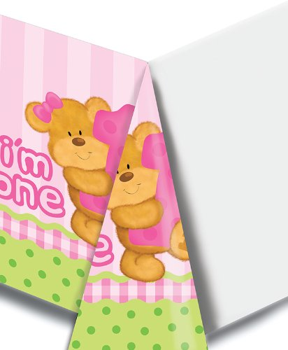 (Creative Converting Bears First Birthday Plastic Table Cover, Pink, Rectangle 54 x 108