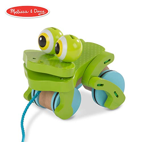 (Melissa & Doug 3205 First Play Frolicking Frog Wooden Pull Toy, Multicolor)