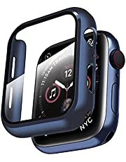 Smiling Hard PC Case Compatible with Apple Watch Series 6/SE/Series 5/Series 4 with Built in Tempered Glass Screen Protector