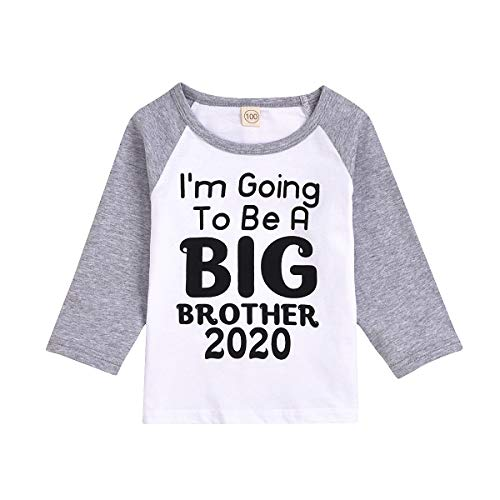 Baby Boys I'm Going to Be A Big Brother Announcement T-Shirt Short Sleeve Sibling Shirt Toddler (18-24 Months, Brother Long-Sleeved Shirt)