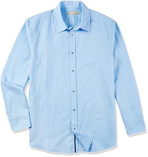Isle Bay Linens Men's Standard-Fit Long Sleeve Casual Shirt Sky Blue Medium by Isle Bay Linens