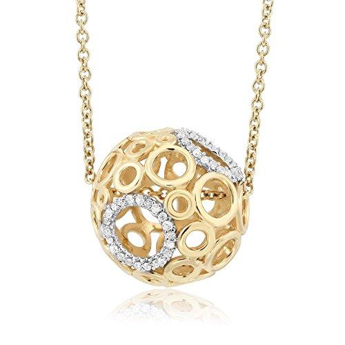 Gem Stone King 10K Yellow Gold White Diamond Multi Circle Pendant With 10K Yellow Gold -