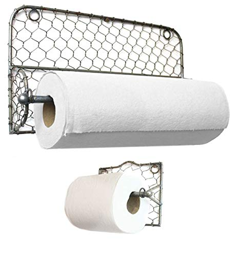 (Well Pack Box Chicken Wire Toilet Paper Holder and Paper Towel Holder Set Farmhouse Rustic )