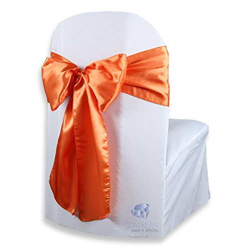 Sparkles Make It Special 100 pcs Satin Chair Cover Bow Sash - Orange - Wedding Party Banquet Reception - 28 Colors Available