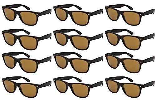 Edge I-Wear 12-Pack Vintage Men Women Plastic Horned Rim Sunglasses Mirrored Lens Spring Hinges Wood Pattern N5401ASWD-REV-3(kgm)