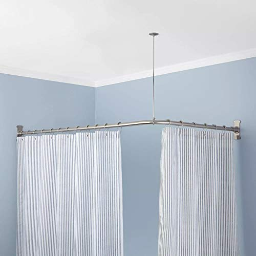 Naiture Stainless Steel 48'' x 48'' Corner Shower Curtain Rod with Ceiling Support, Chrome Finish (Steel Curtain)