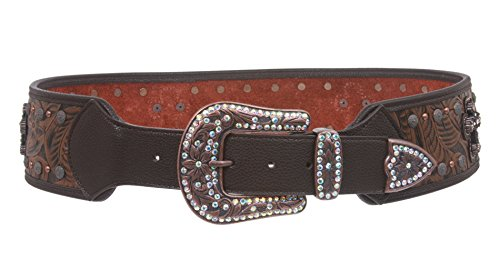(Womens 2 3/4'' Wide Western Rhinestone Cross Ornaments Contour Belt Size: S/M - 34 Color: Brown)