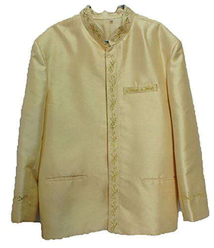 Men's Buff Yellow Lao Laos Laotian Silk Wedding Top Shirt Jacket sz XL by Nanon