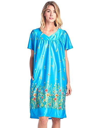 Casual Nights Women's Short Sleeve Muumuu Lounger Dress - Teal - - Dress Lounge Womens