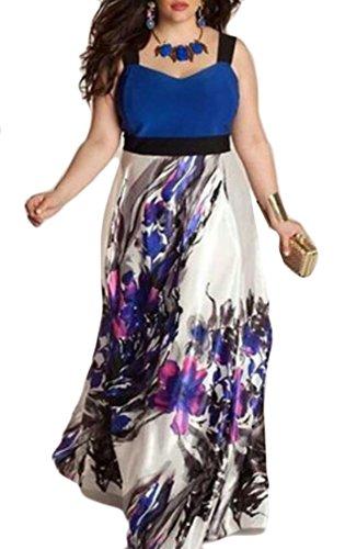 Femmes Domple Contraste Couleur Imprimé Floral Taille Plus Partie Sans Manches Robe Longue Bleu