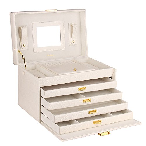 Extra Large Jewelry Box Faux Leather Cabinet Armoire Mother's Day Organizer white (Mirror Jewelry Cabinet Expresso compare prices)
