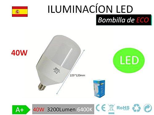 Bombilla LED, tipo globo, de 40 W, rosca grande y luz blanca 6400K 40W≈200W 3200LU: Amazon.es: Iluminación