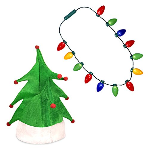 Windy City Novelties Ugly Sweater Christmas Party Kit - Green Christmas Tree Holiday Hat + LED Christmas Bulb Necklace -