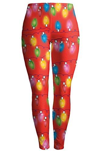 COCOLEGGINGS Womens Christmas Lights Pattern Shaping Leggings Orange-Red L