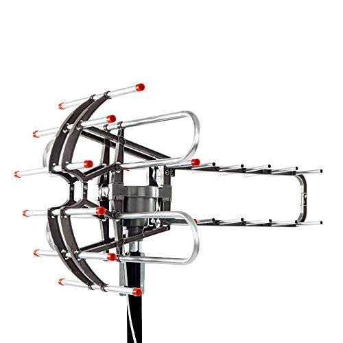 MONNBUY Outdoor TV Antenna, 360°Rotation Wireless Remote - UV Dual Frequency 45-860MHz - 22-38dB - Support UHF/VHF for 2 TVs, Amplified Digital HDTV ()