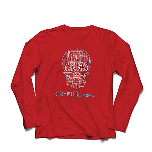 lepni.me Men's T-Shirt Skull CPU - Crypto Trader - Cryptocurrency Investors, Blockchain Icon (Large Red Multi Color)