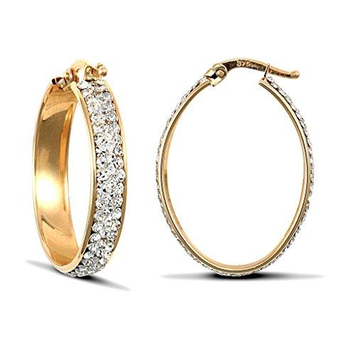 Jewellery World Bague en or jaune 9carats Pierre ovale boucles d'oreilles créoles