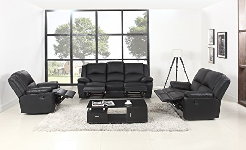 Classic Oversize and Overstuffed Living Room Recliner Set - 3 Piece Air Leather Chair Recliner Set (Black)