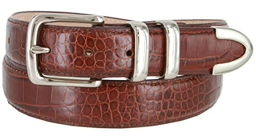 Genuine Italian Calfskin Alligator Embossed Leather Belt 1-1/4