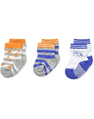 Big Boys' Outer Space Socks-3 Pack