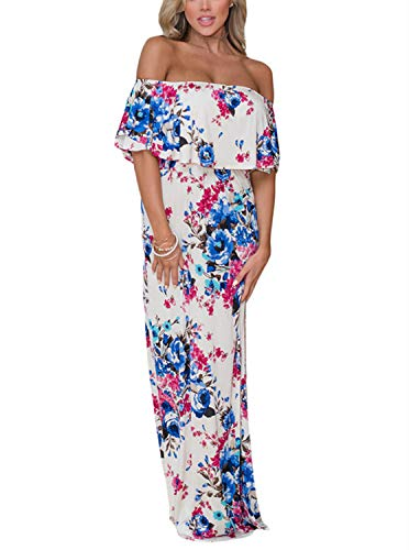 VIGVOG Women's Boho Floral Print Off Shoulder Party Maxi Long Dress with Short Sleeves White