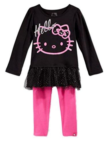 Hello Kitty Tutu Outfit (Hello Kitty Toddler Little Girls 2 PC Set Black Glittery Shirt Pink Leggings 2T)