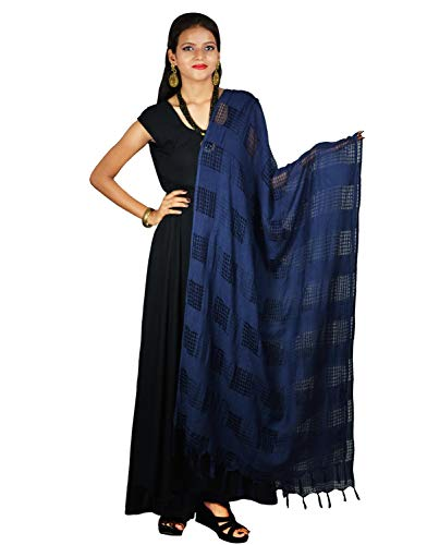 Ethnic Navy Blue Dupatta with Striped Pattern Cotton Viscose Chunni Stole Scarf Wrap For Women by Stylob