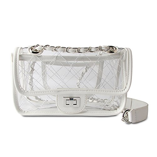 For Pvc Women Bag Set Handbag Waterproof Shoulder Clear Crossbody Purse Transparent Chain Olyphy White 0U4qSIxS