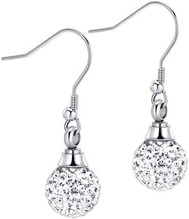 Tiny Crystal Ball Stainless Steel Cremation Earring for Women Keepsake Memorial Urn Jewelry for Ashes of Loved Ones