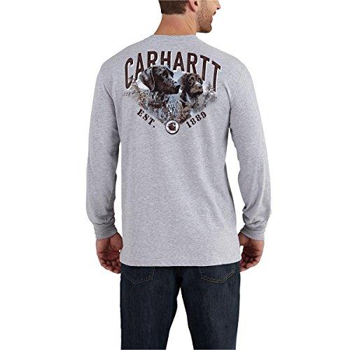 Graphic Best Tee Work (Carhartt Men's 102271 Maddock Graphic Best Friend Long Sleeve T-Shir - Large - Heather Gray)