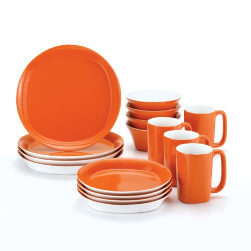 (Rachael Ray Dinnerware Round and Square 16-Piece Stoneware Dinnerware Set, Orange)
