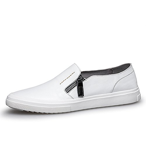 Minitoo Boys Mens Zip Solid Soft Sole Spring/Summer Loafers White