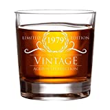 1979 Birthday Gifts for Women and Men Whiskey Glass - Funny Vintage Anniversary Gift Ideas for Him, Her, Dad, Mom, Husband or Wife. 11 oz Whisky Bourbon Scotch Glasses. Party Favors Decorations