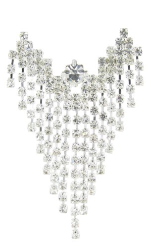 Large Chandelier Floating Angel Rhinestone Brooch Pin with Clear Crystals