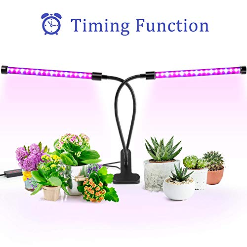 (Grow Light, Ankace [2019 Upgraded Version] 40W Dual Head Timing 36 LED 5 Dimmable Levels Plant Grow Lights for Indoor Plants with Red/Blue Spectrum, Adjustable Gooseneck, 3/6/12H Timer, 3 Switch Modes)