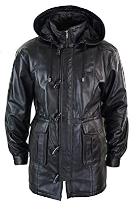 Men's Classic Fit Detachable Hooded Duffle Real Sheepskin Leather Trench Coat