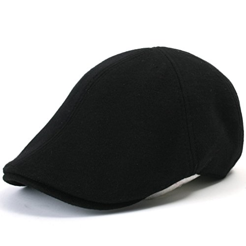 ililily Soft cotton Newsboy Flat Cap Pre-curved ivy stretch-fit Driver Hunting Hat (flatcap-506-1), Black (Waxed Cotton Irish Cap compare prices)