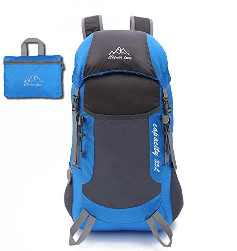 YYY-Piel bandolera portátil ultraligero paquete al aire libre plegable montañismo viajes hombres y mujeres deportes mochila , gray Blue
