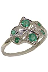 925 Sterling Silver Cubic Zirconia and Natural Emerald Womens Cluster Ring - Sizes 4 to 12 Available