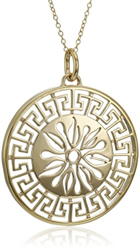 18k Yellow Gold Plated Sterling Silver Greek Key Medallion Necklace, 18