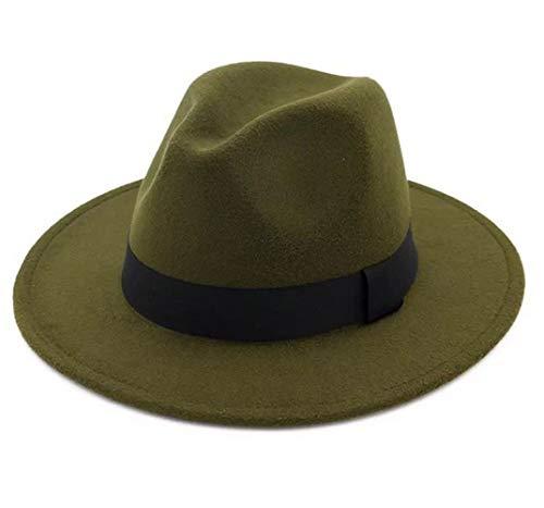 Lanzom Women Wide Brim Warm Wool Fedora Hat Retro Style Belt Panama Hat (Army Green, One Size)