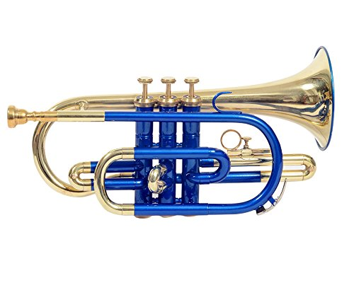 Crnt-06, CORNET, Bb BLUE + Brass With Free Case and Mouth piece By S Chopra