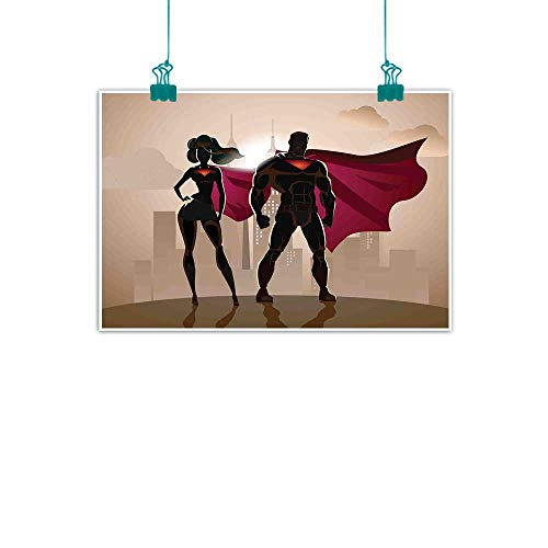 Warm Family Superhero Living Room Decorative Painting Super Woman and Man Heroes in City Solving Crime Hot Couple in Costume Modern Minimalist Atmosphere 35