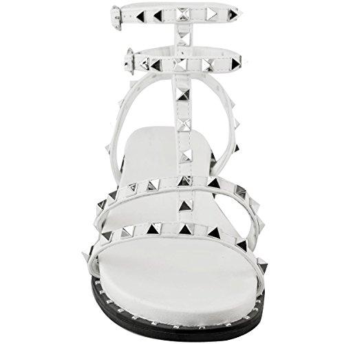 Donna Borchiati Estivo Scarpe Similpelle con Thirsty Numero Decorato heelberry Bianco Cinturino Sandali Argento Basse Fashion da Scarpe Rock GB Borchia BgXxqww8