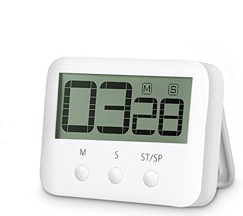 Digital Kitchen Timer with Big LED Display, Magnetic Backing, Kickstand and Loud Alarm, Counts Down From Up To 99 Minutes 59 Seconds,White