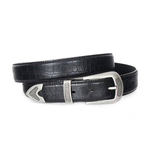 2015-BLK - Gallant Men's Golf Embossed Croco Feather Edge Leather Belt 36 (Croco Embossed Belt)
