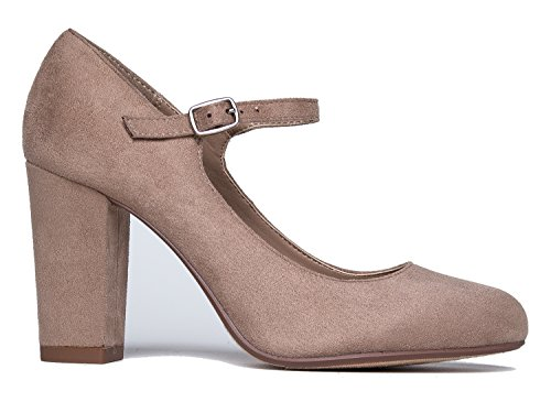 Round Cute Suede Jane Chunky Pumps J Taupe Mary Heels Comfortable Adams Skippy Toe Block Light xqwnUIXZaC