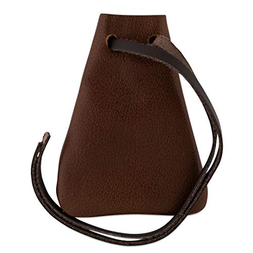 Leather Drawstring Pouch, Coin Bag, Medicine Tobacco Pouch Medieval Reenactment Made in U.S.A. by Nabob Leather (Extra Small Size 3 ¾
